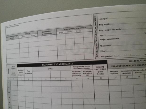 Karty karta przychodów pracowników  A4 Typograf