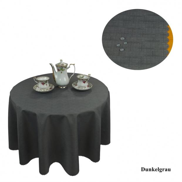 tischdecke abwaschbar tischl ufer gartentischdecke leinen optik rund dunkelgrau ebay. Black Bedroom Furniture Sets. Home Design Ideas
